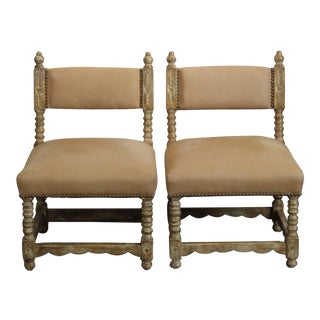 Spanish Style Suede Dining / Side Chairs - a Pair