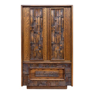 Lane Pueblo Brutalist Armoire For Sale
