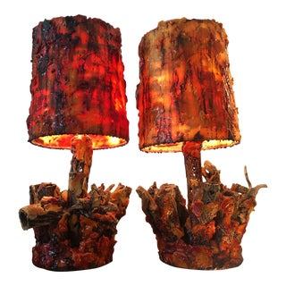 Vintage Waxed Cholla Wood Lamps - A Pair For Sale