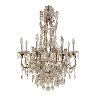 1880s French Louis XV Style Beaded Crystal Chandelier For Sale