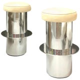 Image of Pair of Chrome Minimalist Bar Stools For Sale