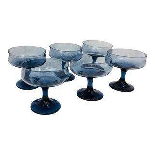 Set VTG Cobalt Blue Coupe Glasses