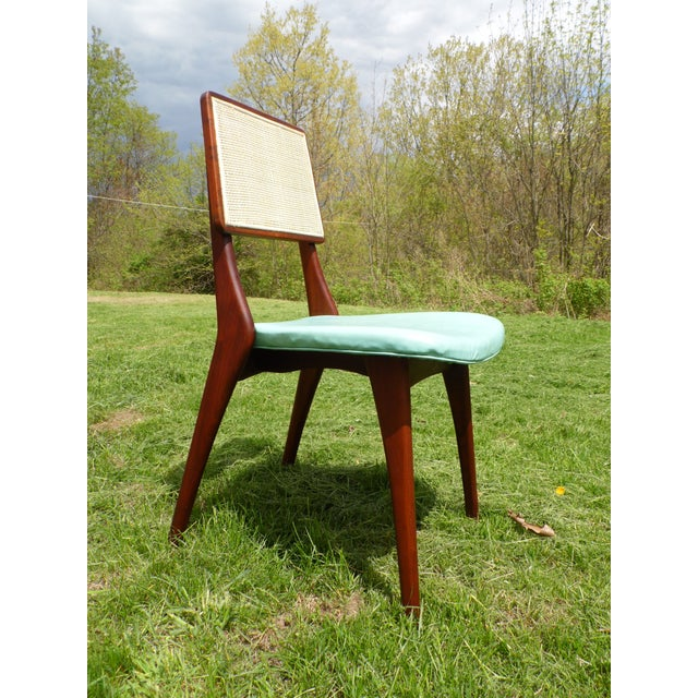 Mid-Century Modern Walnut & Cane Dining Chairs - Set of 4 For Sale - Image 11 of 11