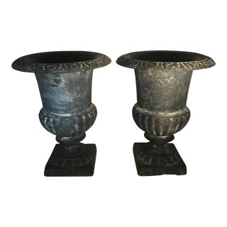 Antique French Cast Iron Urn Planters - a Pair For Sale