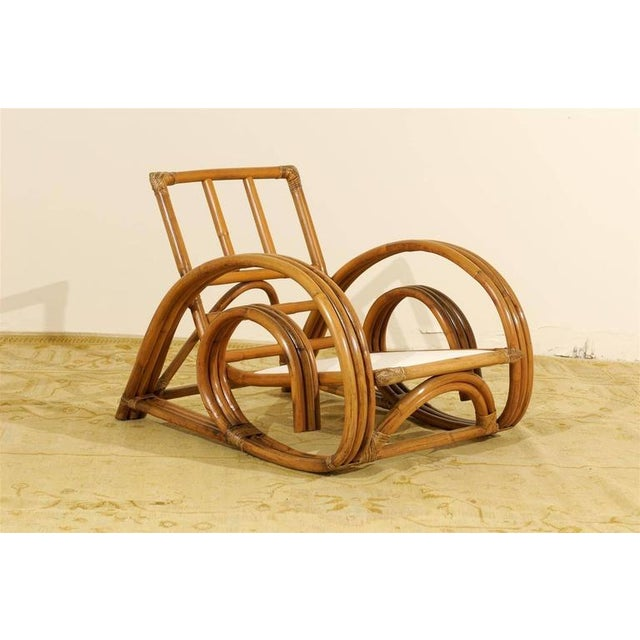 Decorative Pair of Restored Vintage Curvilinear Rattan Loungers, circa 1940 For Sale - Image 9 of 10