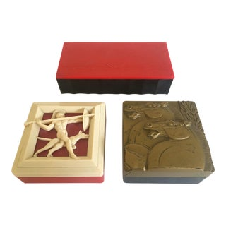 1930's Art Deco Celluloid Bakelite Mens Valet Vanity Boxes - Set of 3 For Sale