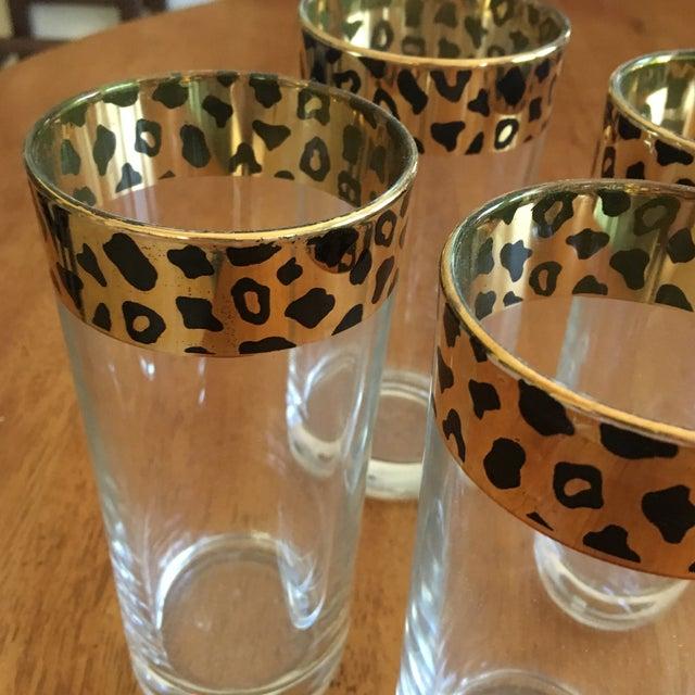 Italian Black & Gold Cheetah Print Glasses - Set of 4 - Image 5 of 10