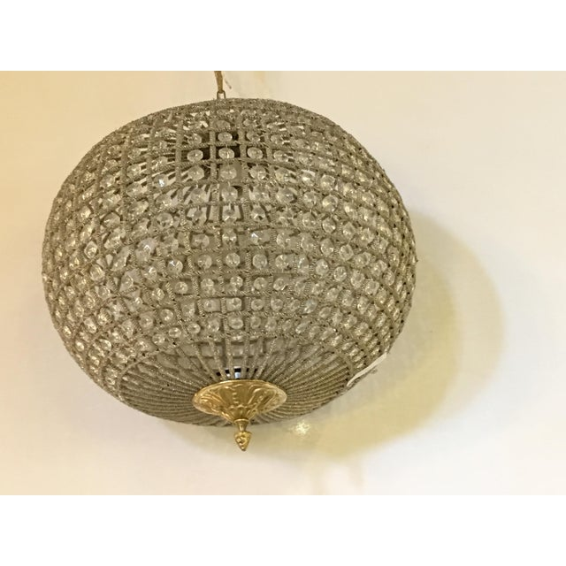 Hollywood Regency Globe Pendant Chandeliers - A Pair For Sale - Image 3 of 10
