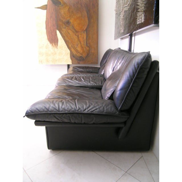 Nicoletti Salotti Italian Mid Century Modern Black Leather Lounge Chair For Sale - Image 9 of 13
