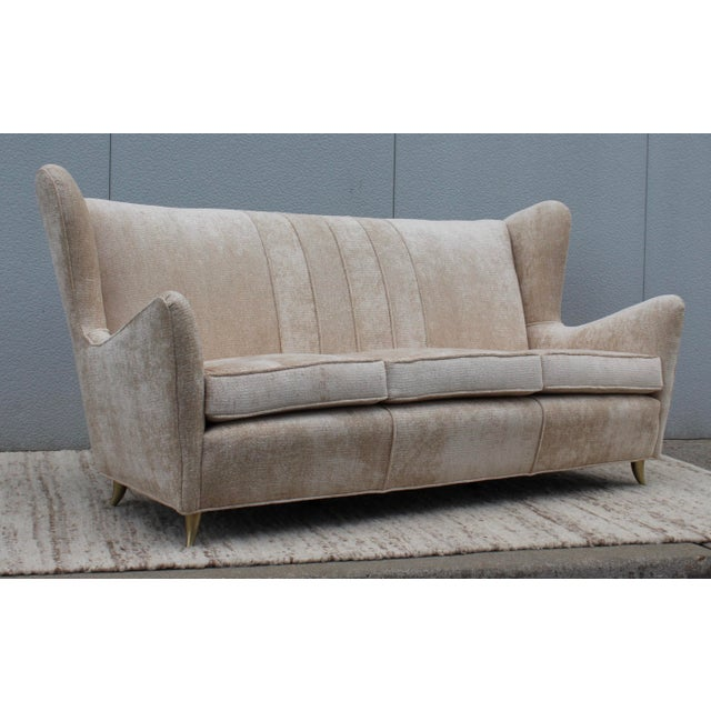 Tan 1950's Gio Ponti Style Italian Sofa For Sale - Image 8 of 8