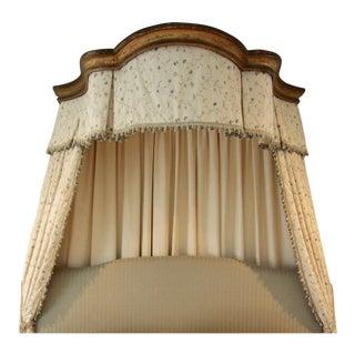 Italian Giltwood Bed Corona W/ Draperies For Sale
