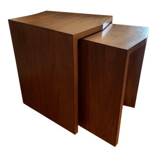 1950s Mid-Century Modern Walnut Nesting Tables - 2 Pieces For Sale