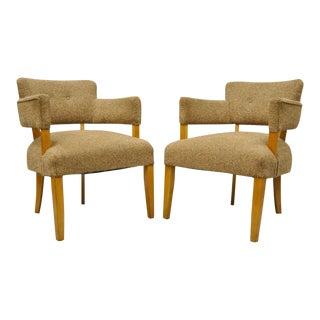 Mid-Century Modern Maple Club Lounge Chairs Jens Risom Heywood Wakefield - A Pair