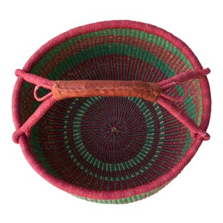 African Market Basket in Pink & Green For Sale