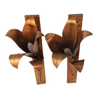 Vintage 1970's Brutalist Hand Hammered Copper Lilly Form Sconces Attrib. Tommaso Barbi - a Pair For Sale