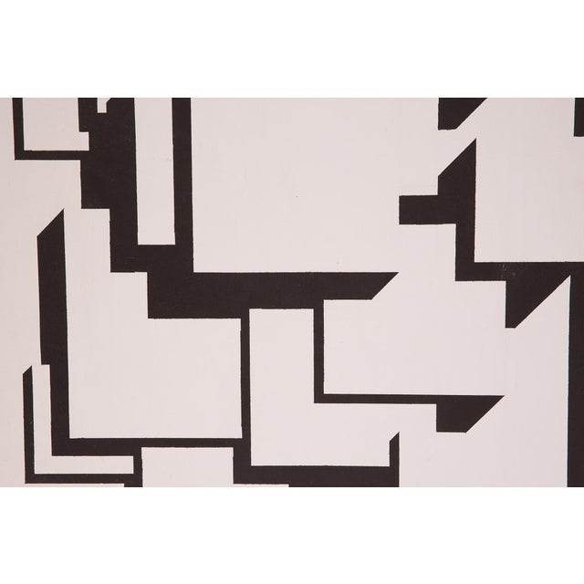 1970s Patrick Mather Hard-Edge Black and White Acrylic Paintings - a Pair For Sale - Image 5 of 10