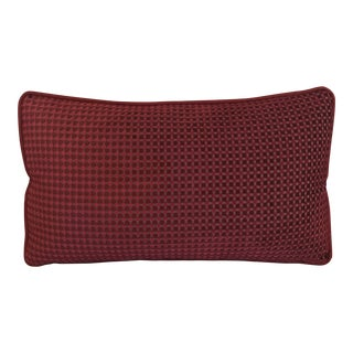 Red Cut Velvet Cotton Lumbar Decorative Pillow Double-Sided For Sale