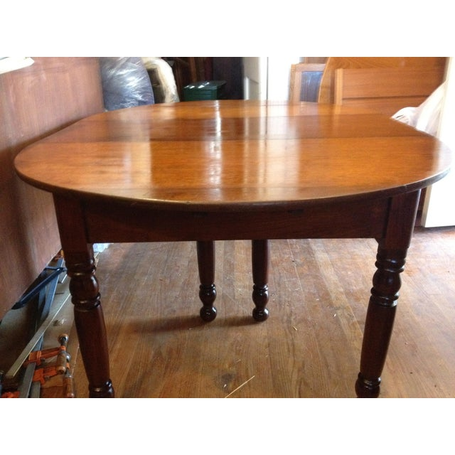 American Antique 1860 Black Walnut Extendable Farm Dining Table For Sale - Image 3 of 12