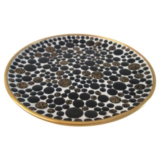 Mid-Century Black & Gold Mosaic Tile Bowl