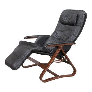 Contemporary Black Leather and Wood Reclining Armchair With Headrest For Sale