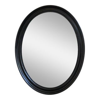 Large Napoleon III Oval Mirror With Black Painted Frame For Sale