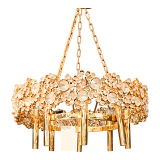 Brass and Glass Eight Light Chandelier For Sale