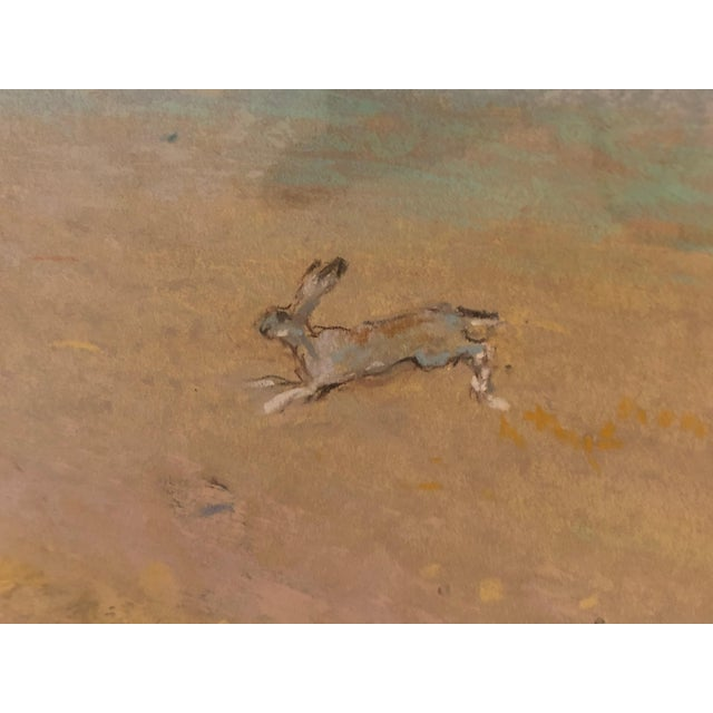 1980s Romantic Pretty Pastel of Bunny Rabbits in a Pasture For Sale - Image 5 of 9