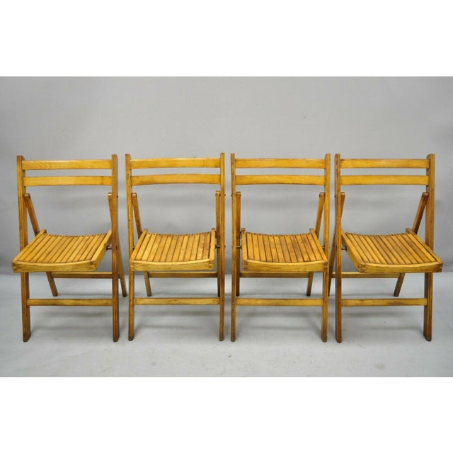 1950s Vintage Wood Slat Folding Dining Game Chairs- Set of 4 For Sale - Image 11 of 11