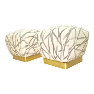 Vintage Brass Base Marge Carson Poufs or Ottomans- a Pair For Sale