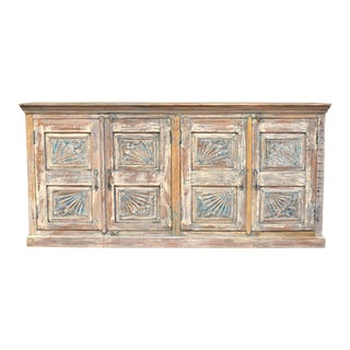 1920s Rustic Blue Distressed Sideboard For Sale