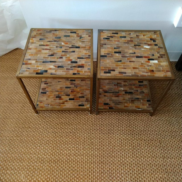 Aged Gold Finish Square Bone Top Tables - A Pair For Sale In Kansas City - Image 6 of 6