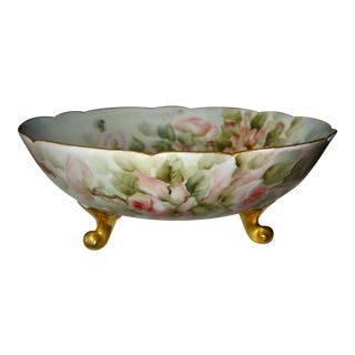 Limoges France Antique E. Thomas (Ester Miller) Hand Painted Footed Rose Bowl For Sale