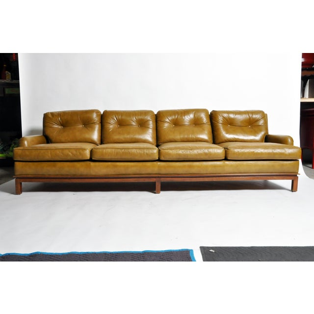 Mid-Century Modern Green Leather Sofa With Hardwood Base by Edward Wormley For Sale - Image 11 of 11
