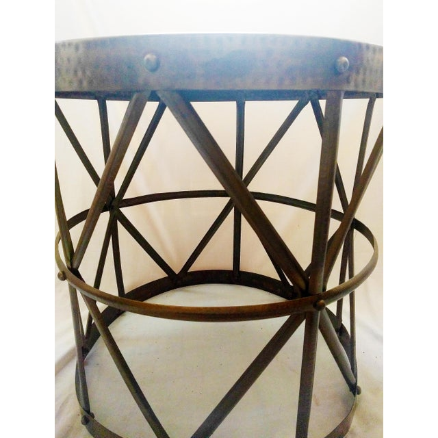 Hammered Bronze Drum Side Table - Image 4 of 4