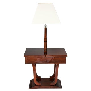 Art Deco, Biedermeier Inspired, Work-Table Lamp in Mahogany Wood, France, 1930s For Sale