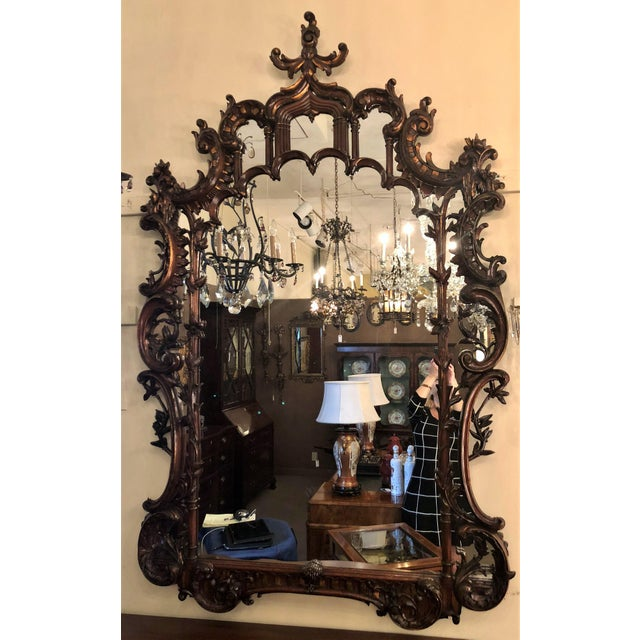 Magnificent Antique 19th Century English Chippendale Carved Wood Mirror.