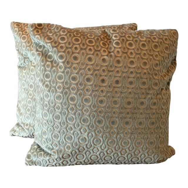 Italian Cut Velvet Pillow Covers - A Pair For Sale