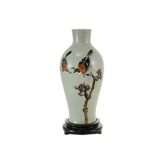 Chinese Celadon Bird & Blossom Vase & Stand For Sale