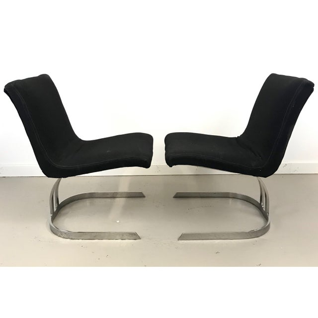 Metal Pair of Cantilevered Scimitar Base Chairs For Sale - Image 7 of 8