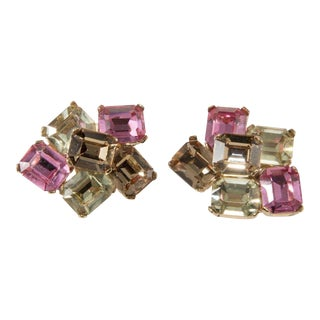 Ciner Earrings Rhinestones Emerald Cut Pink Brown Yellow Clip on Gold Plated For Sale