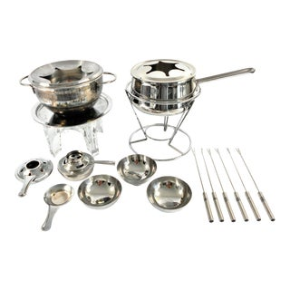 Vintage Chantal Fire and Ice Stainless Steel Fondue Set - Set of 19 For Sale