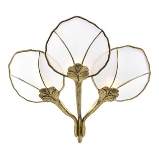 Hollywood Regency Large Brass and Mesh Water Lily Wall Sconce For Sale
