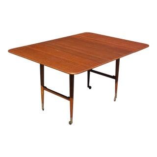 Vintage Mid Century Modern Teak Drop Leaf Expandable Table Serving Cart Sweden For Sale