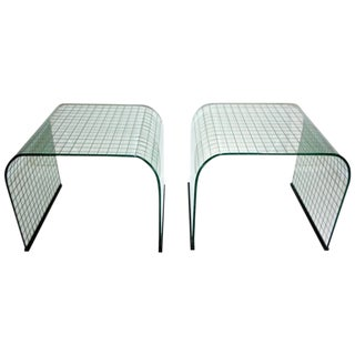 1970s Fiam Italy Waterfall Glass Side Tables - a Pair For Sale