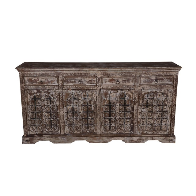 Rustic Ambre Wood Sideboard For Sale