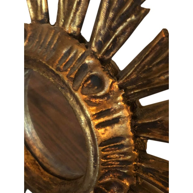 Mid Century French Giltwood Sunburst Mirror For Sale - Image 4 of 7