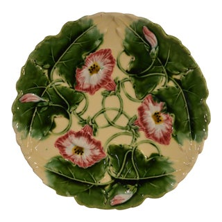 19th Century Majolica Floral Charger For Sale