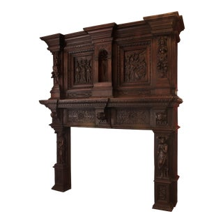 C. 1890 German Renaissance Style Chestnut Mantel For Sale