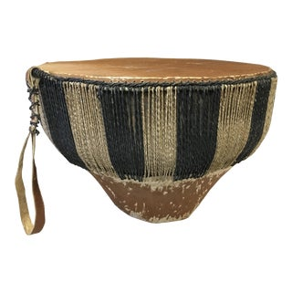 1950s African Hide Covered Drum Table For Sale