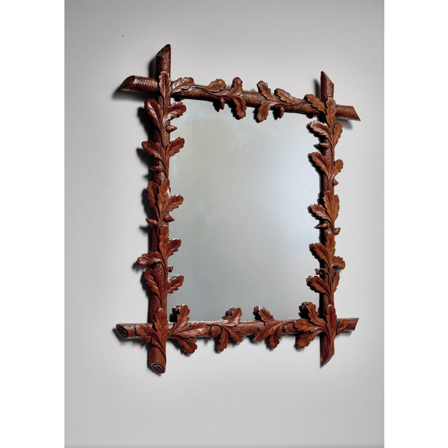 Art Nouveau Early 20th Century Carved Nutwood Mirror With Leaf Decorations, Denmark For Sale - Image 3 of 3